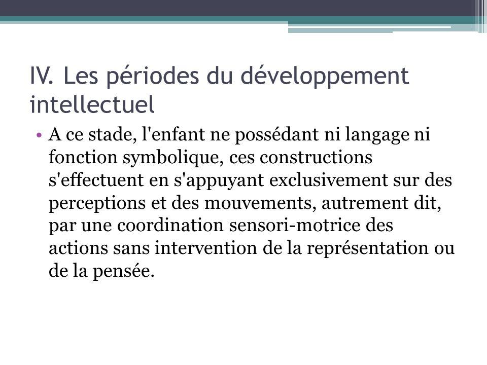 IV. Les périodes du développement intellectuel A ce stade, l'enfant ne possédant ni langage ni fonction symbolique, ces constructions s'effectuent en