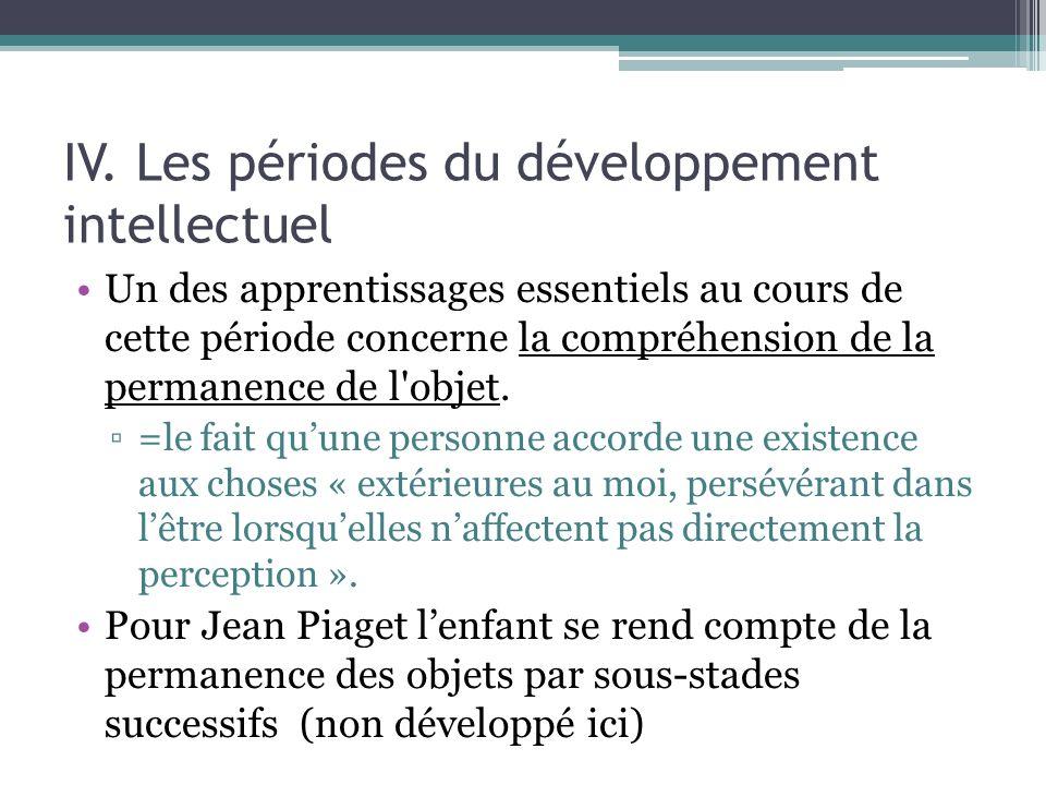 IV. Les périodes du développement intellectuel Un des apprentissages essentiels au cours de cette période concerne la compréhension de la permanence d