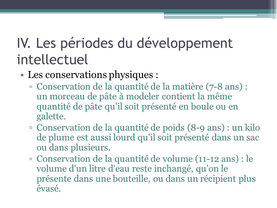 IV. Les périodes du développement intellectuel Les conservations physiques : Conservation de la quantité de la matière (7-8 ans) : un morceau de pâte