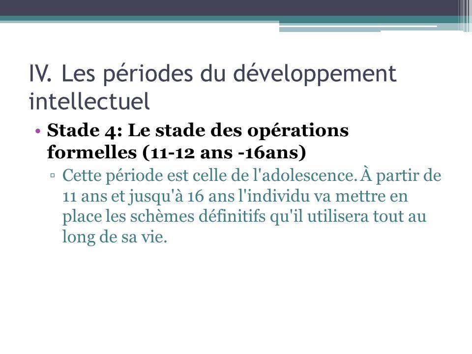 IV. Les périodes du développement intellectuel Stade 4: Le stade des opérations formelles (11-12 ans -16ans) Cette période est celle de l'adolescence.
