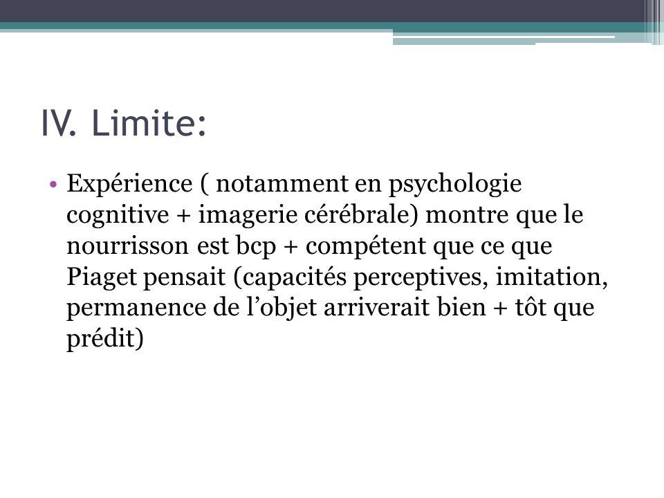 IV. Limite: Expérience ( notamment en psychologie cognitive + imagerie cérébrale) montre que le nourrisson est bcp + compétent que ce que Piaget pensa
