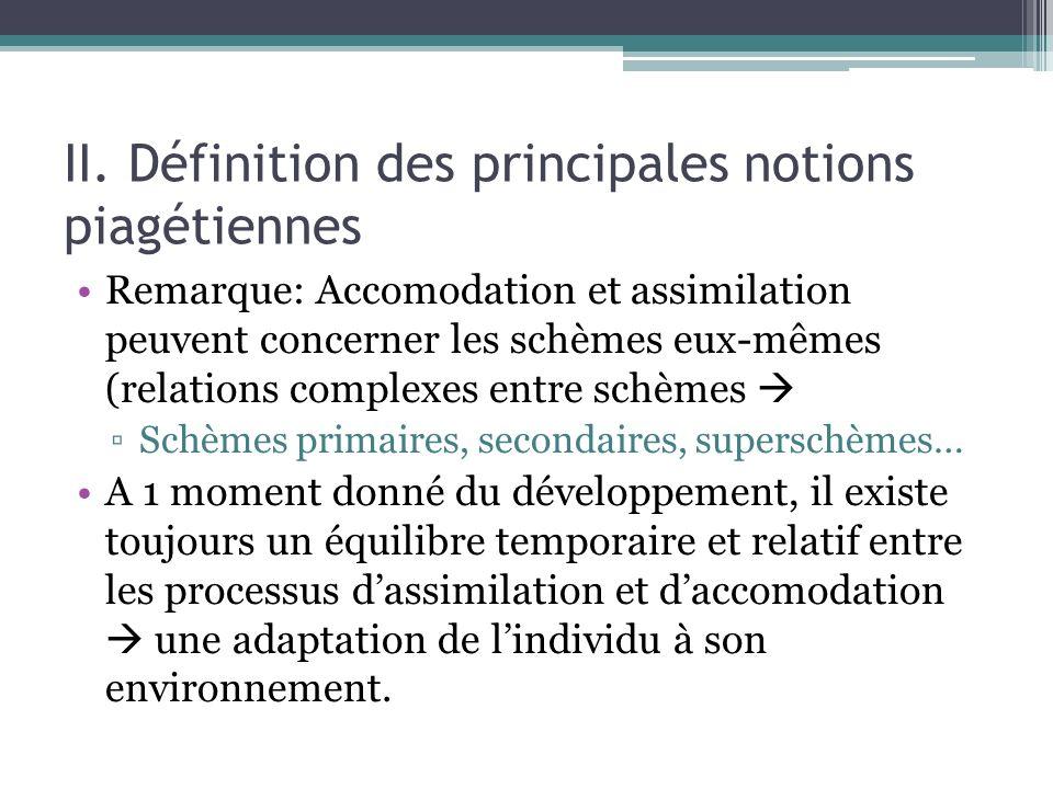 II. Définition des principales notions piagétiennes Remarque: Accomodation et assimilation peuvent concerner les schèmes eux-mêmes (relations complexe