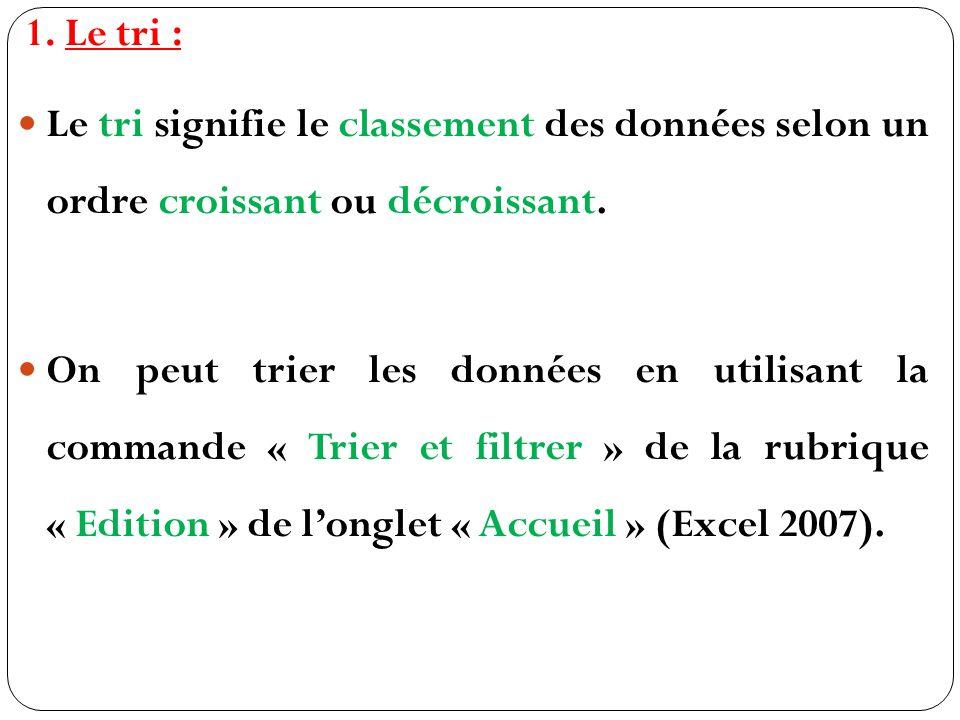 1.Le tri : Le tri signifie le classement des données selon un ordre croissant ou décroissant.