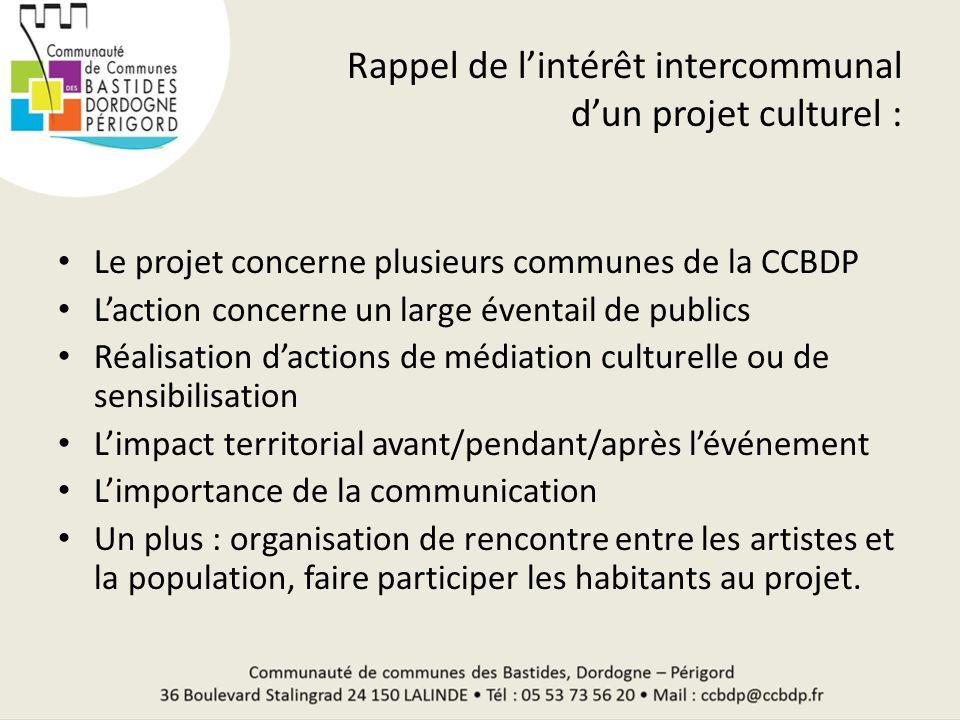 Rappel de lintérêt intercommunal dun projet culturel : Le projet concerne plusieurs communes de la CCBDP Laction concerne un large éventail de publics