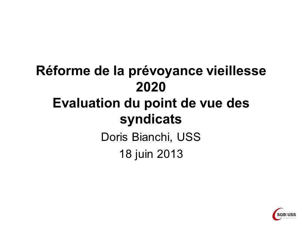 Réforme de la prévoyance vieillesse 2020 Evaluation du point de vue des syndicats Doris Bianchi, USS 18 juin 2013