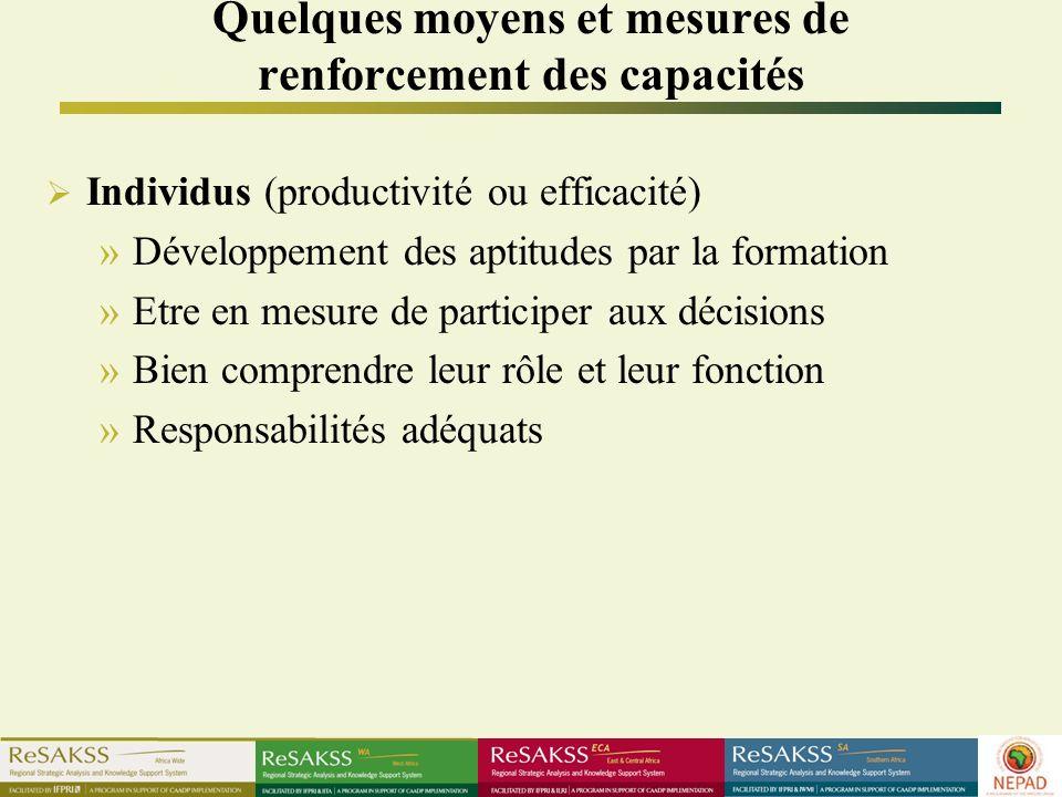 Quelques moyens et mesures de renforcement des capacités Individus (productivité ou efficacité) »Développement des aptitudes par la formation »Etre en mesure de participer aux décisions »Bien comprendre leur rôle et leur fonction »Responsabilités adéquats