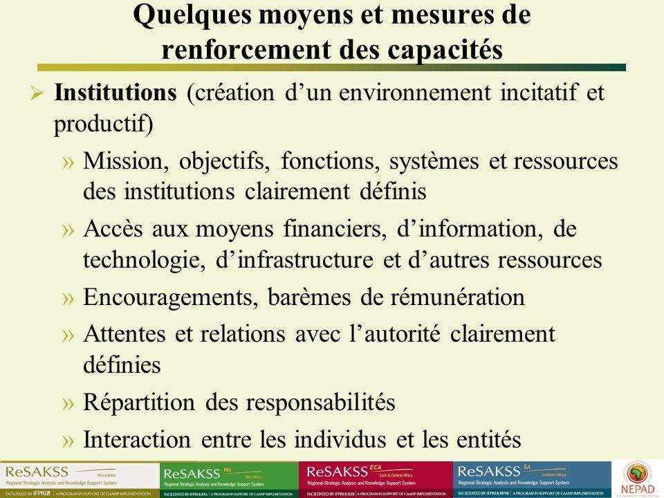 Quelques moyens et mesures de renforcement des capacités Institutions (création dun environnement incitatif et productif) »Mission, objectifs, fonctio