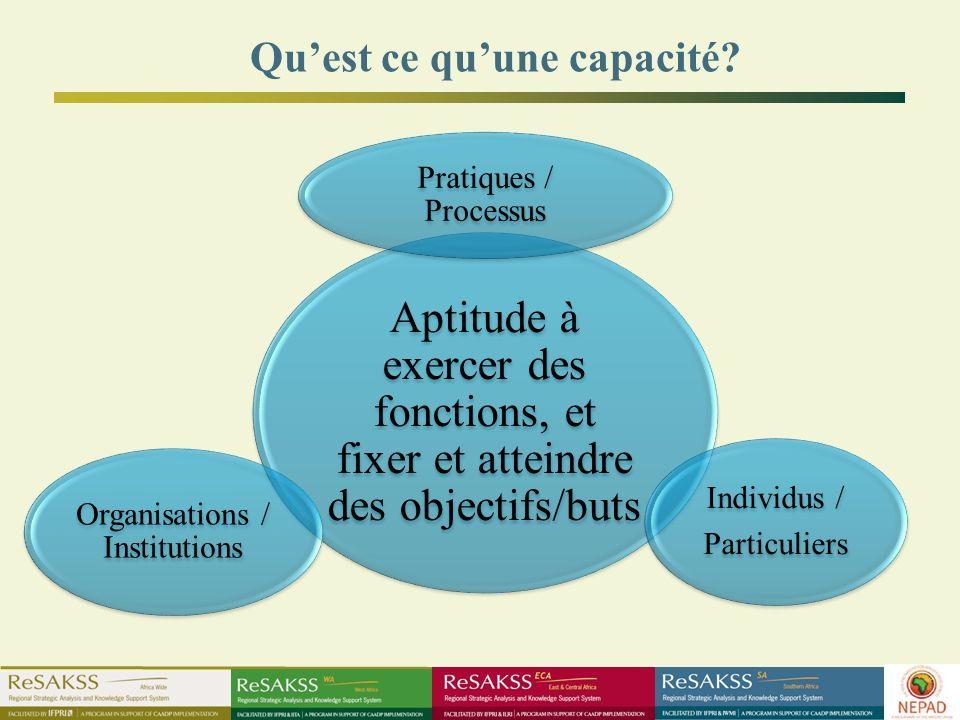 Aptitude à exercer des fonctions, et fixer et atteindre des objectifs/buts Pratiques / Processus Individus / Particuliers Organisations / Institutions Quest ce quune capacité?