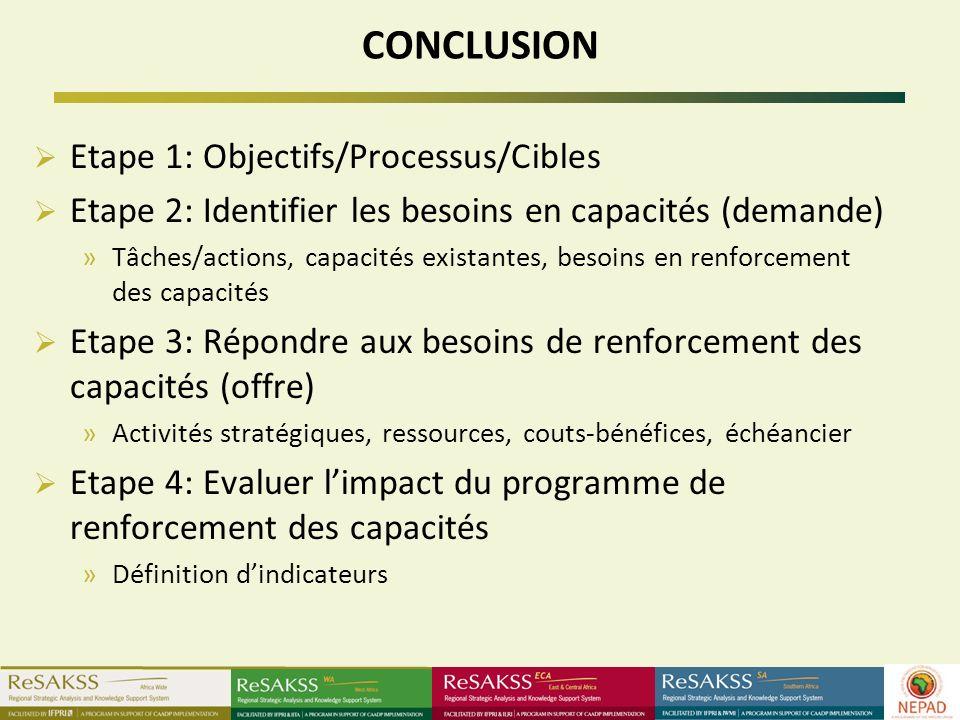 CONCLUSION Etape 1: Objectifs/Processus/Cibles Etape 2: Identifier les besoins en capacités (demande) »Tâches/actions, capacités existantes, besoins en renforcement des capacités Etape 3: Répondre aux besoins de renforcement des capacités (offre) »Activités stratégiques, ressources, couts-bénéfices, échéancier Etape 4: Evaluer limpact du programme de renforcement des capacités »Définition dindicateurs