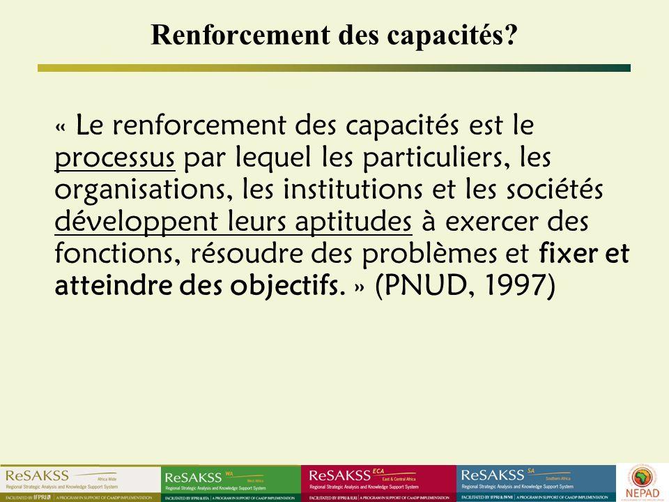 Renforcement des capacités? « Le renforcement des capacités est le processus par lequel les particuliers, les organisations, les institutions et les s