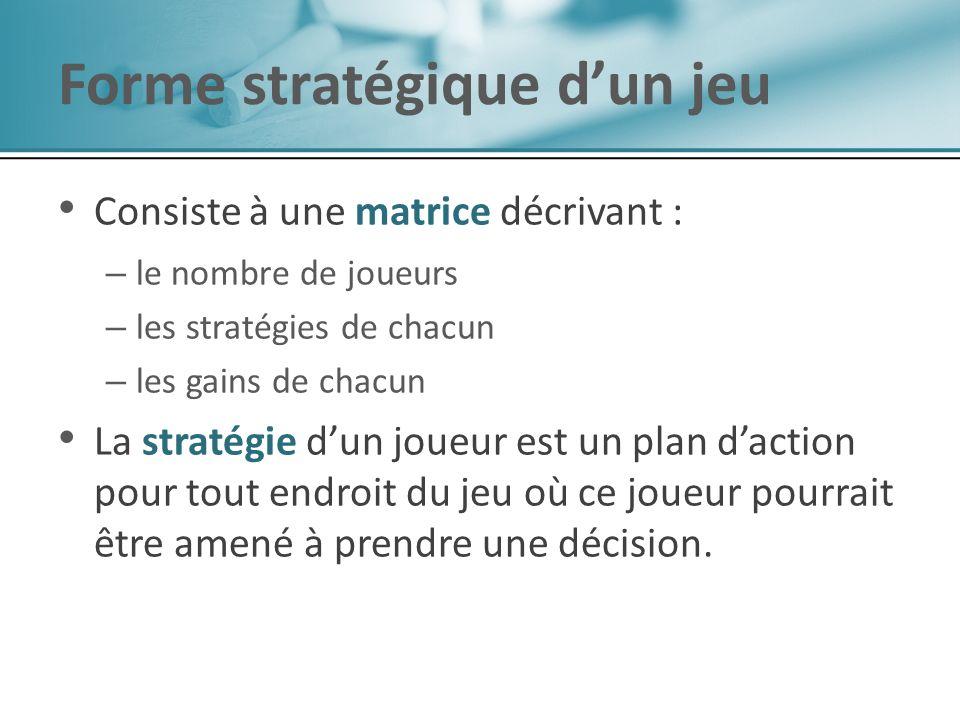 Consiste à une matrice décrivant : – – le nombre de joueurs – – les stratégies de chacun – – les gains de chacun La stratégie dun joueur est un plan daction pour tout endroit du jeu où ce joueur pourrait être amené à prendre une décision.