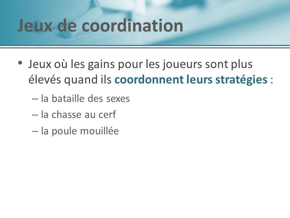 Jeux de coordination Jeux où les gains pour les joueurs sont plus élevés quand ils coordonnent leurs stratégies : – – la bataille des sexes – – la cha