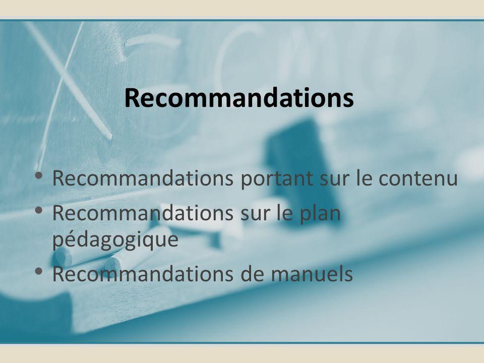 Recommandations portant sur le contenu Recommandations sur le plan pédagogique Recommandations de manuels Recommandations