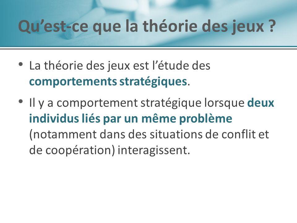La théorie des jeux est létude des comportements stratégiques. Il y a comportement stratégique lorsque deux individus liés par un même problème (notam