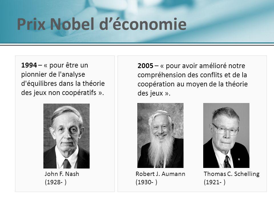 Robert J. Aumann (1930- ) Thomas C. Schelling (1921- ) John F. Nash (1928- ) 2005 – « pour avoir amélioré notre compréhension des conflits et de la co