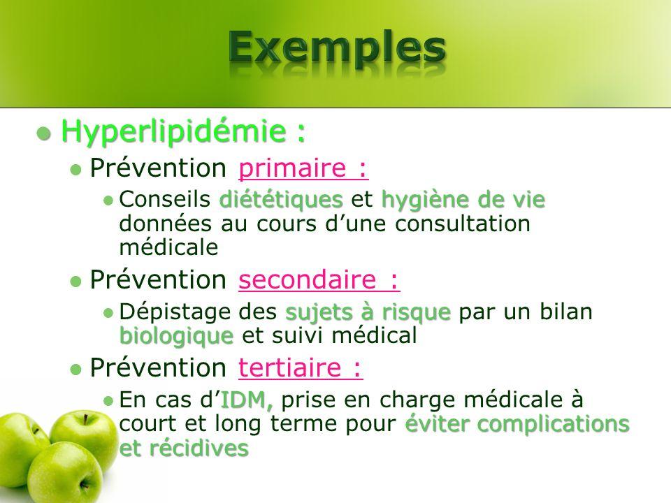 Hyperlipidémie : Hyperlipidémie : Prévention primaire : diététiqueshygiène de vie Conseils diététiques et hygiène de vie données au cours dune consult