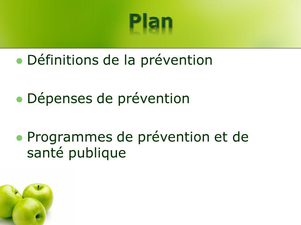 Définitions de la prévention Dépenses de prévention Programmes de prévention et de santé publique