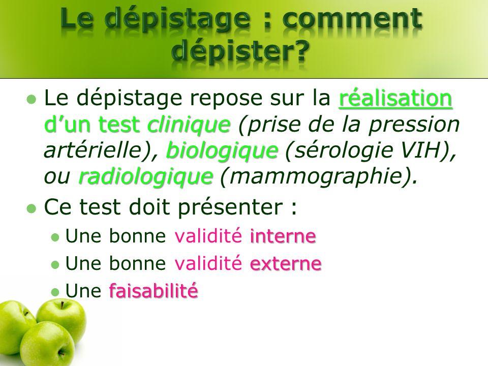 réalisation dun test clinique biologique radiologique Le dépistage repose sur la réalisation dun test clinique (prise de la pression artérielle), biol