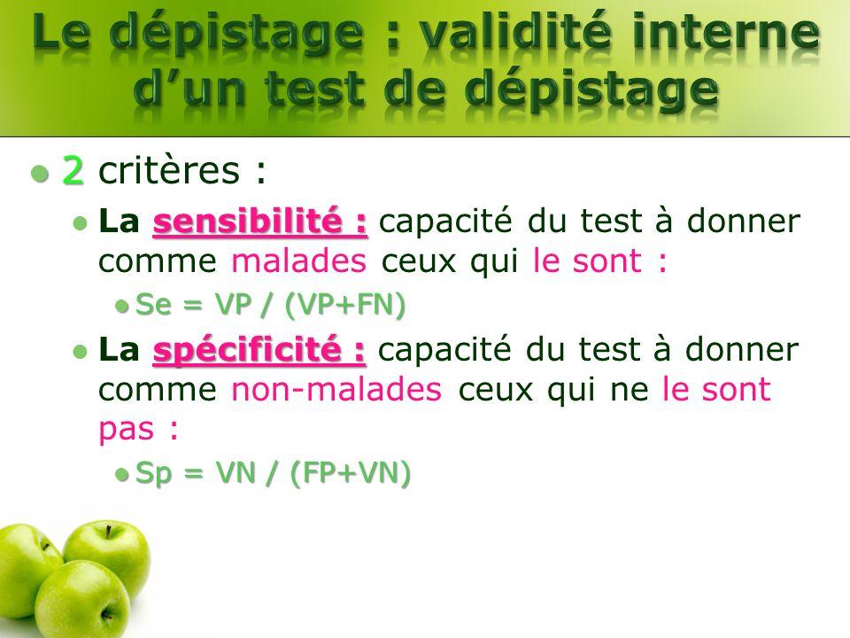 2 2 critères : sensibilité : La sensibilité : capacité du test à donner comme malades ceux qui le sont : Se = VP / (VP+FN) Se = VP / (VP+FN) spécifici