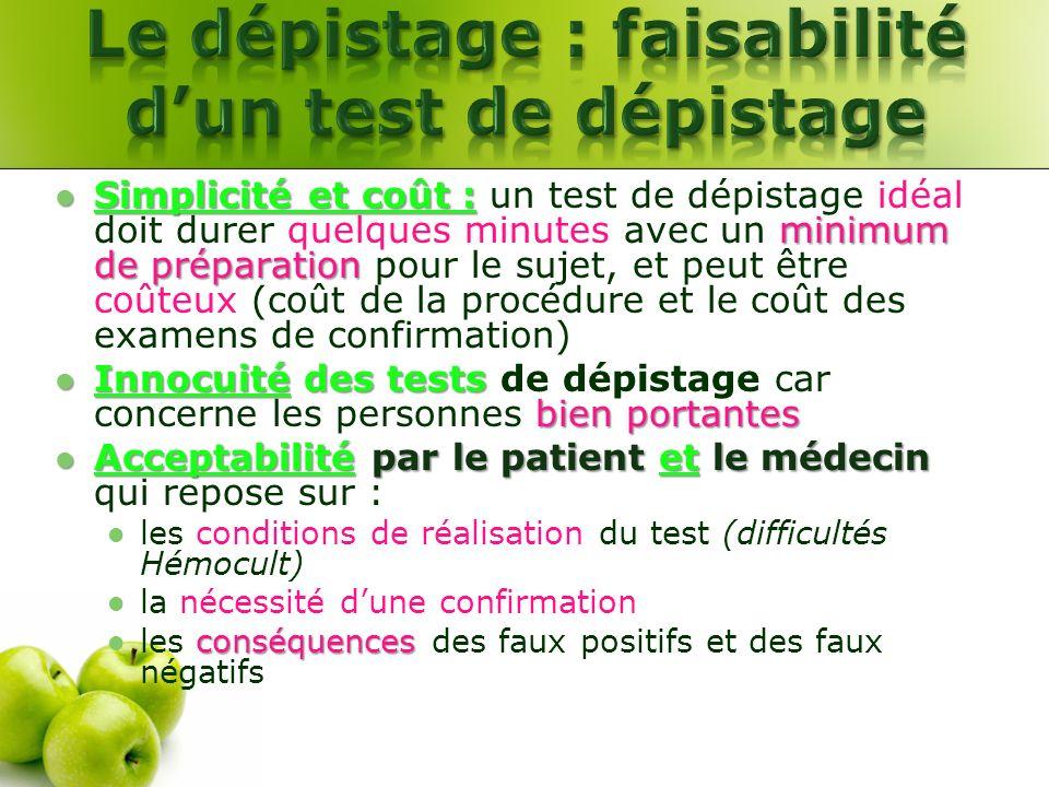 Simplicité et coût : minimum de préparation Simplicité et coût : un test de dépistage idéal doit durer quelques minutes avec un minimum de préparation