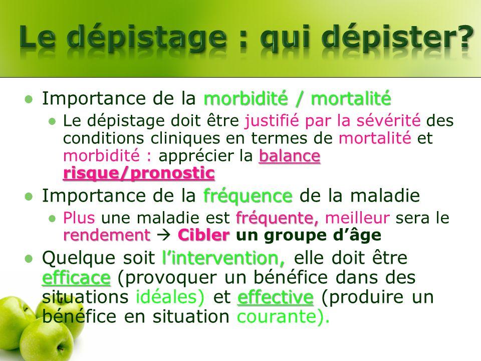 morbidité / mortalité Importance de la morbidité / mortalité balance risque/pronostic Le dépistage doit être justifié par la sévérité des conditions c