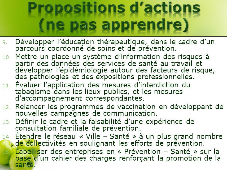 9. Développer léducation thérapeutique, dans le cadre dun parcours coordonné de soins et de prévention. 10. Mettre un place un système dinformation de