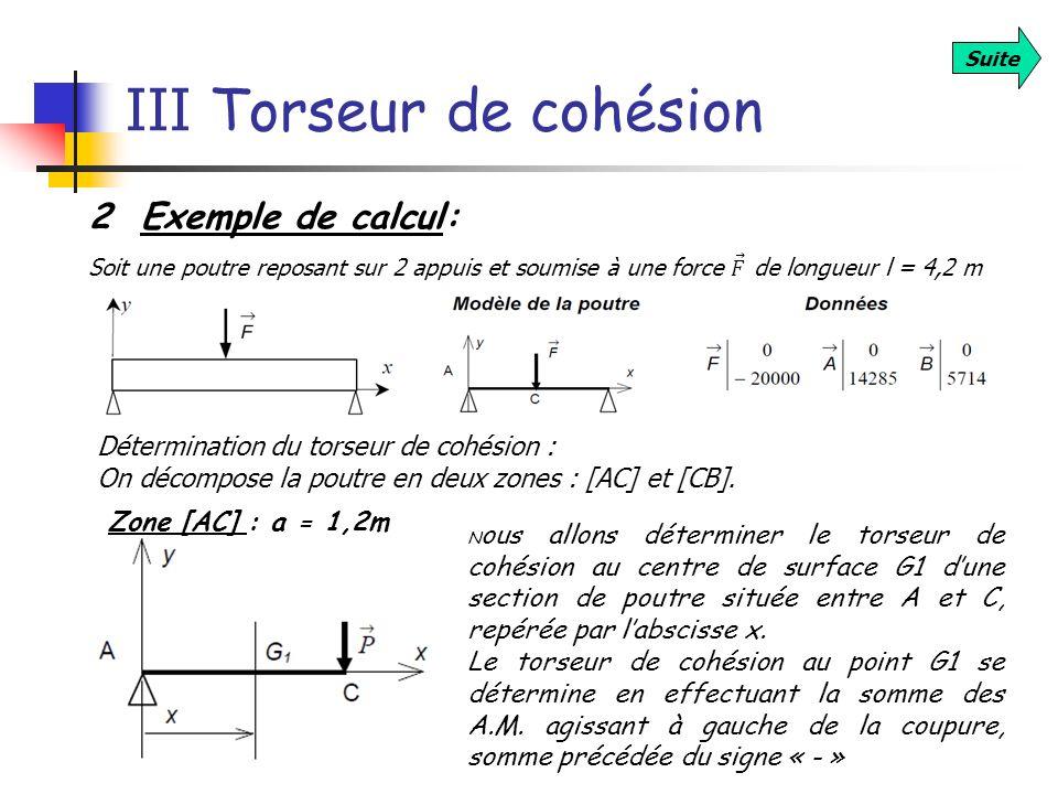 III Torseur de cohésion Suite 2 Exemple de calcul: Détermination du torseur de cohésion : On décompose la poutre en deux zones : [AC] et [CB]. Zone [A