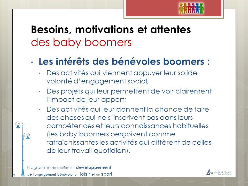 Programme de soutien au développement de lengagement bénévole en loisir et en sport Besoins, motivations et attentes des baby boomers Les intérêts des