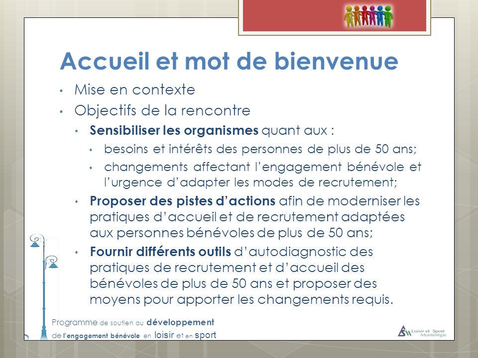 Programme de soutien au développement de lengagement bénévole en loisir et en sport Accueil et mot de bienvenue Mise en contexte Objectifs de la renco