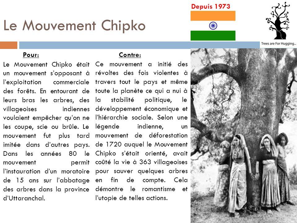 Le Mouvement Chipko Depuis 1973 Ce mouvement a initié des révoltes des fois violentes à travers tout le pays et même toute la planète ce qui a nui à la stabilité politique, le développement économique et lhiérarchie sociale.