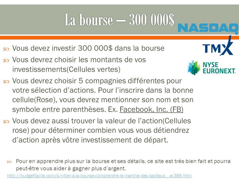 Vous devez investir 300 000$ dans la bourse Vous devrez choisir les montants de vos investissements(Cellules vertes) Vous devrez choisir 5 compagnies différentes pour votre sélection dactions.