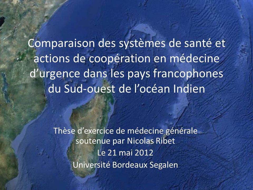 Les Seychelles Archipel de 115 îles; principale: Mahé Forte proportion population anglophone Économie basée sur tourisme Indicateurs se rapprochant pays développés (pathologies dégénératives) Un hôpital de référence (Mahé) et différents centres de santé