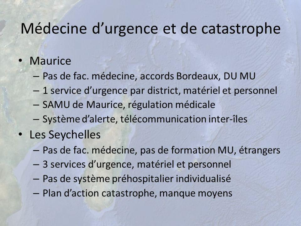 Médecine durgence et de catastrophe Maurice – Pas de fac. médecine, accords Bordeaux, DU MU – 1 service durgence par district, matériel et personnel –