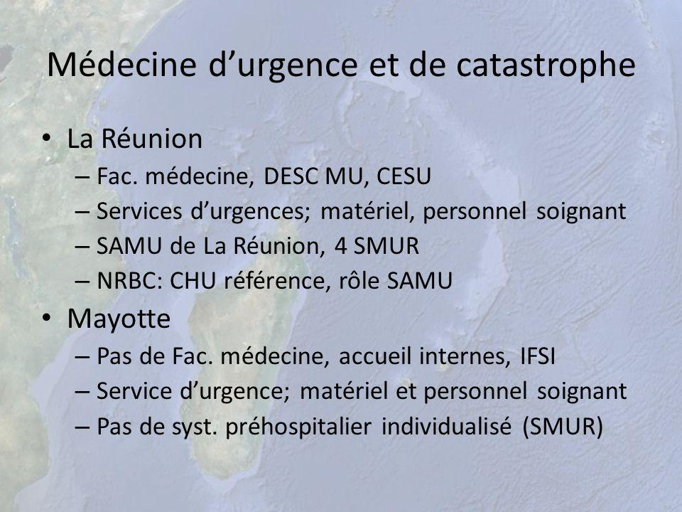 Médecine durgence et de catastrophe La Réunion – Fac. médecine, DESC MU, CESU – Services durgences; matériel, personnel soignant – SAMU de La Réunion,