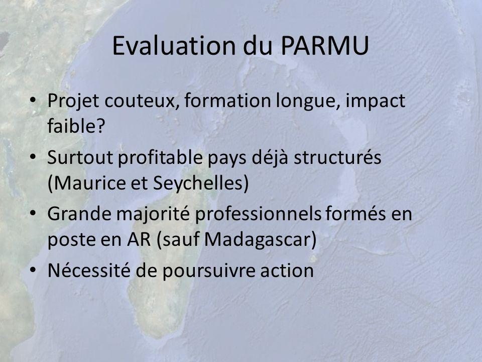 Evaluation du PARMU Projet couteux, formation longue, impact faible? Surtout profitable pays déjà structurés (Maurice et Seychelles) Grande majorité p