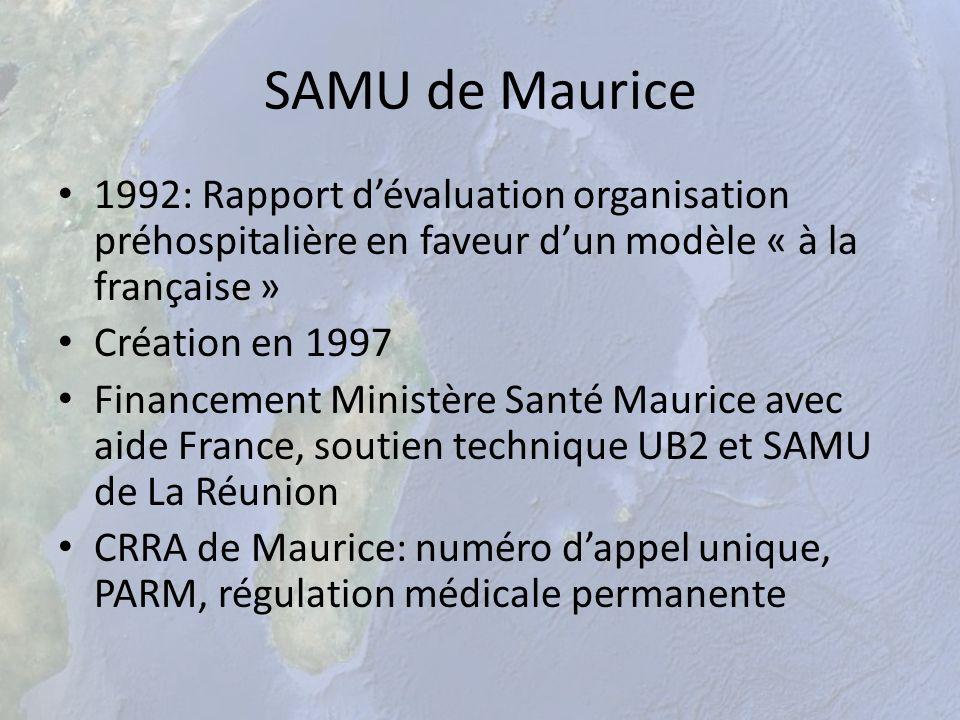 SAMU de Maurice 1992: Rapport dévaluation organisation préhospitalière en faveur dun modèle « à la française » Création en 1997 Financement Ministère