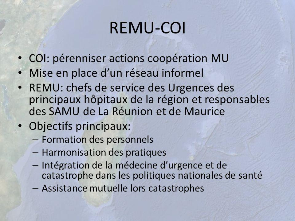 REMU-COI COI: pérenniser actions coopération MU Mise en place dun réseau informel REMU: chefs de service des Urgences des principaux hôpitaux de la ré