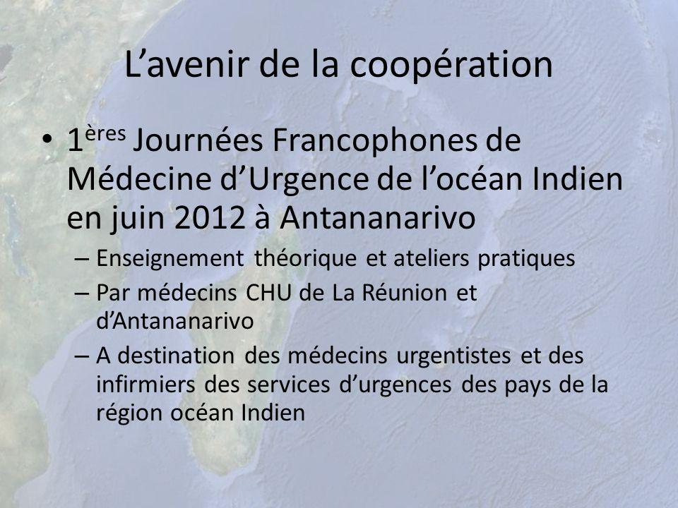 Lavenir de la coopération 1 ères Journées Francophones de Médecine dUrgence de locéan Indien en juin 2012 à Antananarivo – Enseignement théorique et a