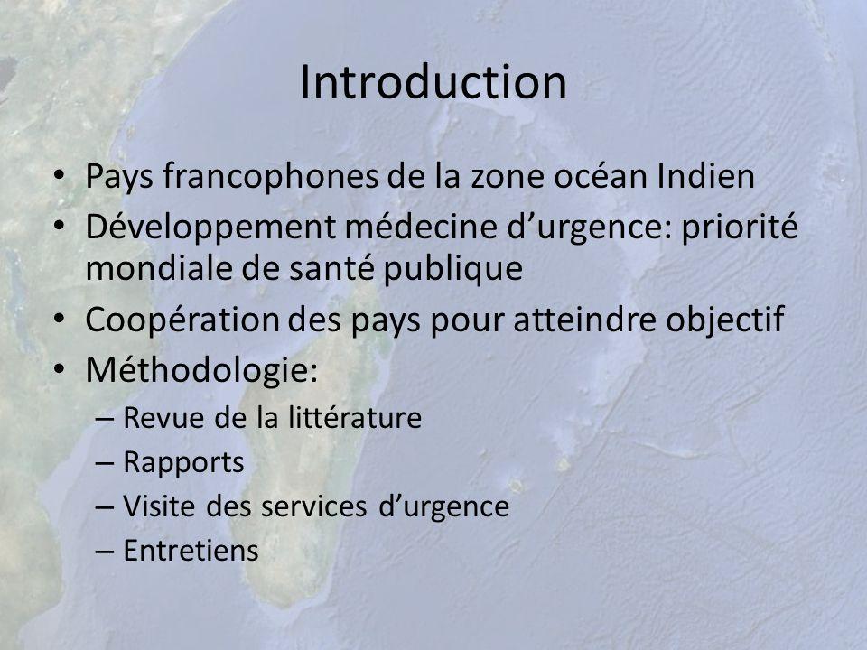 Introduction Pays francophones de la zone océan Indien Développement médecine durgence: priorité mondiale de santé publique Coopération des pays pour