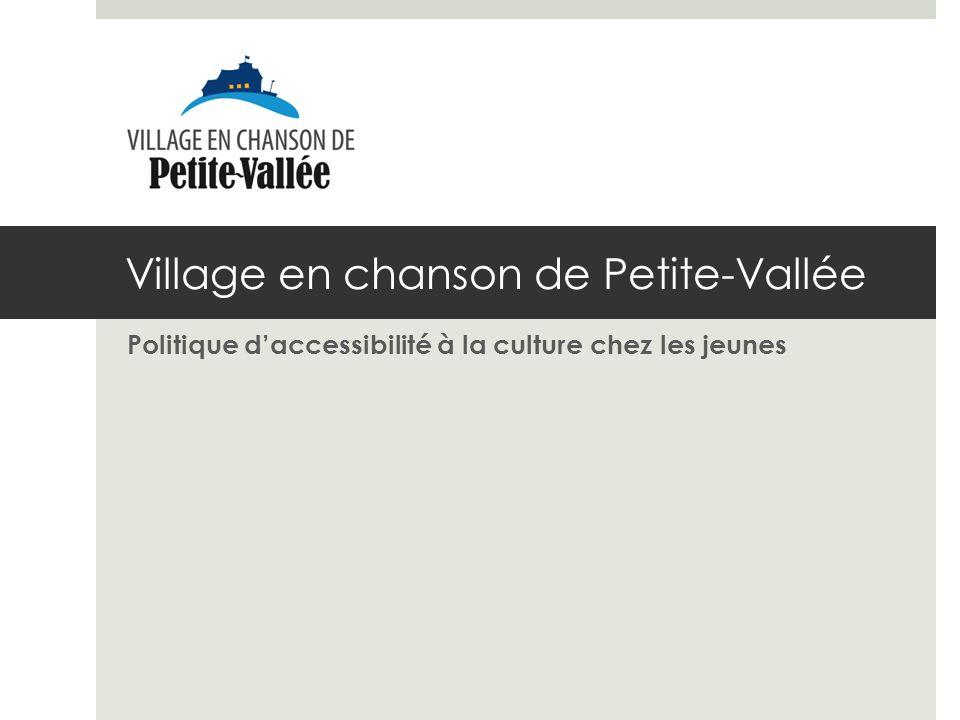 Village en chanson de Petite-Vallée Politique daccessibilité à la culture chez les jeunes