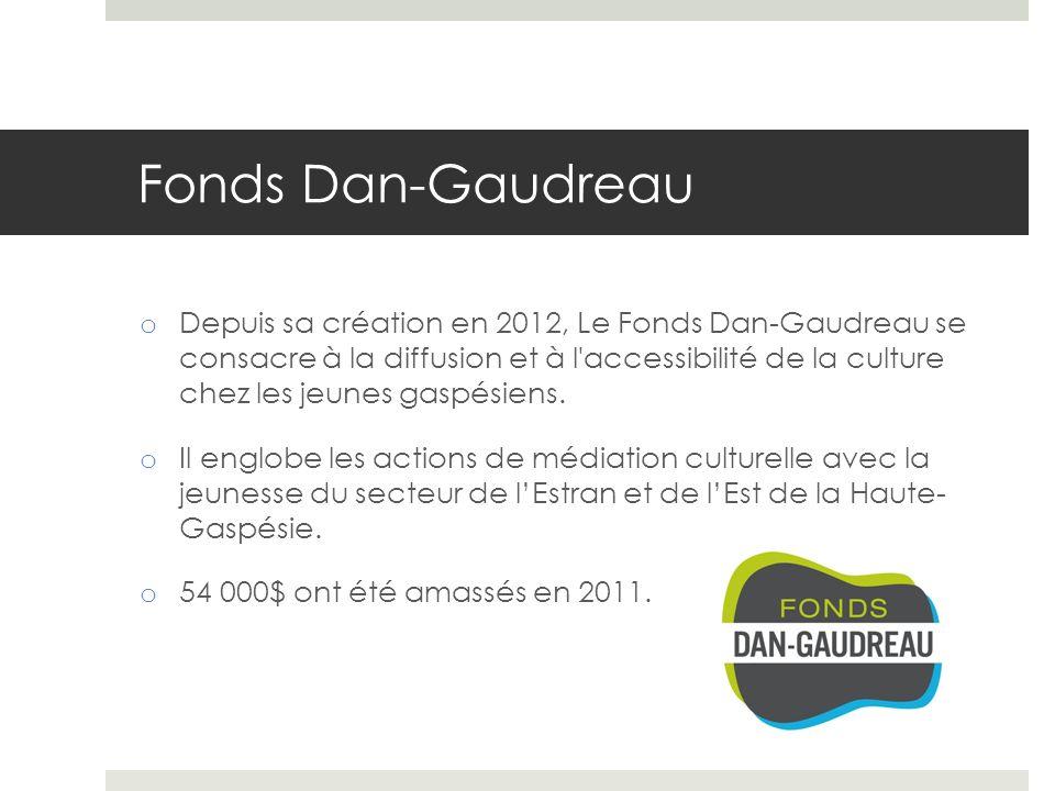 Fonds Dan-Gaudreau o Depuis sa création en 2012, Le Fonds Dan-Gaudreau se consacre à la diffusion et à l accessibilité de la culture chez les jeunes gaspésiens.