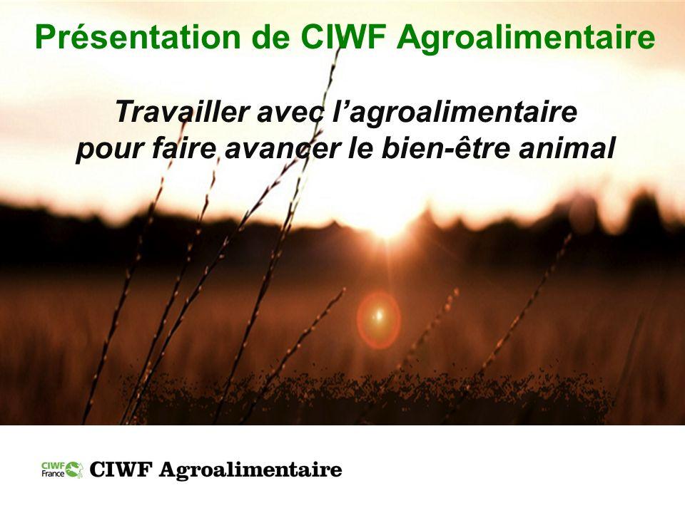 CIWF en bref Créée en 1967 par Peter Roberts, un éleveur laitier britannique Aujourdhui, reconnue comme lorganisation internationale de référence dédiée au bien-être des animaux délevage