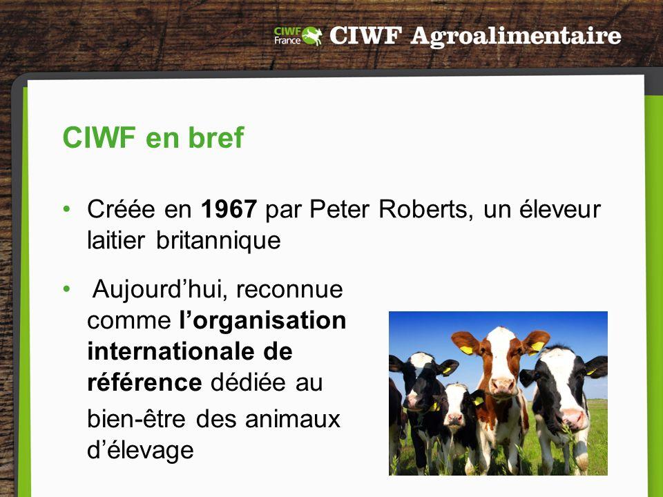 CIWF – structure et implantation Statut : Organisation non gouvernementale > 70 employés permanents Plus de 360 000 sympathisants dans le monde Siège social au Royaume-Uni et bureaux aux Pays-Bas, en France, en Italie, en Pologne, aux Etats-Unis et représentants de CIWF présents à linternational (Chine, Afrique du Sud, etc.) En France : CIWF France - bureau à Paris depuis 2011