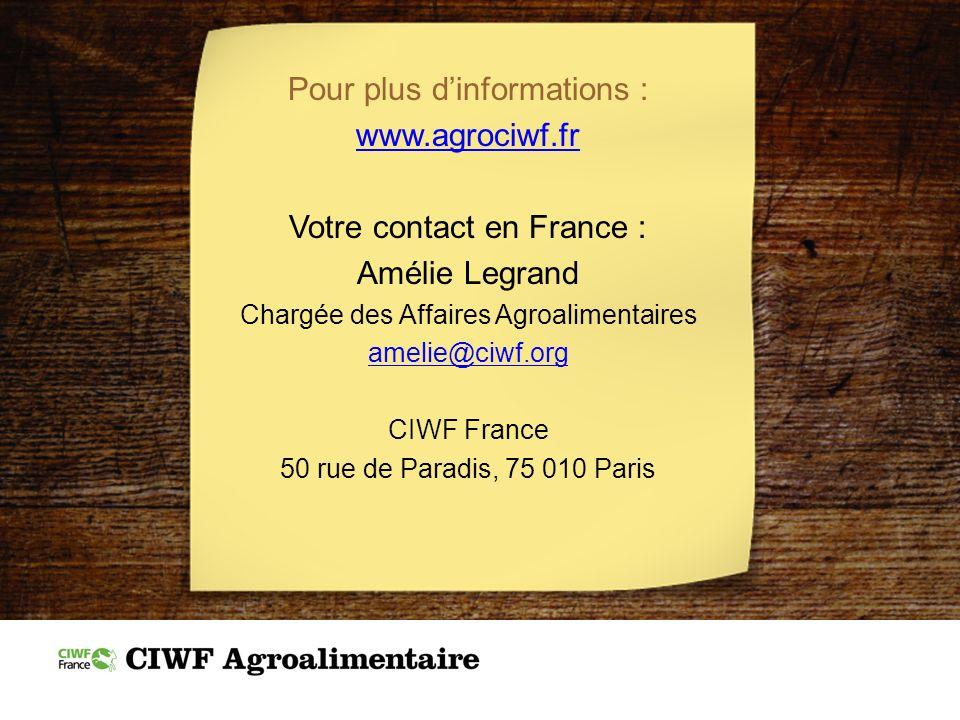 Pour plus dinformations : www.agrociwf.fr Votre contact en France : Amélie Legrand Chargée des Affaires Agroalimentaires amelie@ciwf.org CIWF France 5