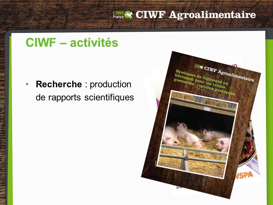 Pour plus dinformations : www.agrociwf.fr Votre contact en France : Amélie Legrand Chargée des Affaires Agroalimentaires amelie@ciwf.org CIWF France 50 rue de Paradis, 75 010 Paris