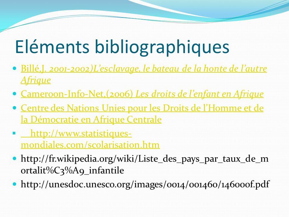 Eléments bibliographiques Billé,J.