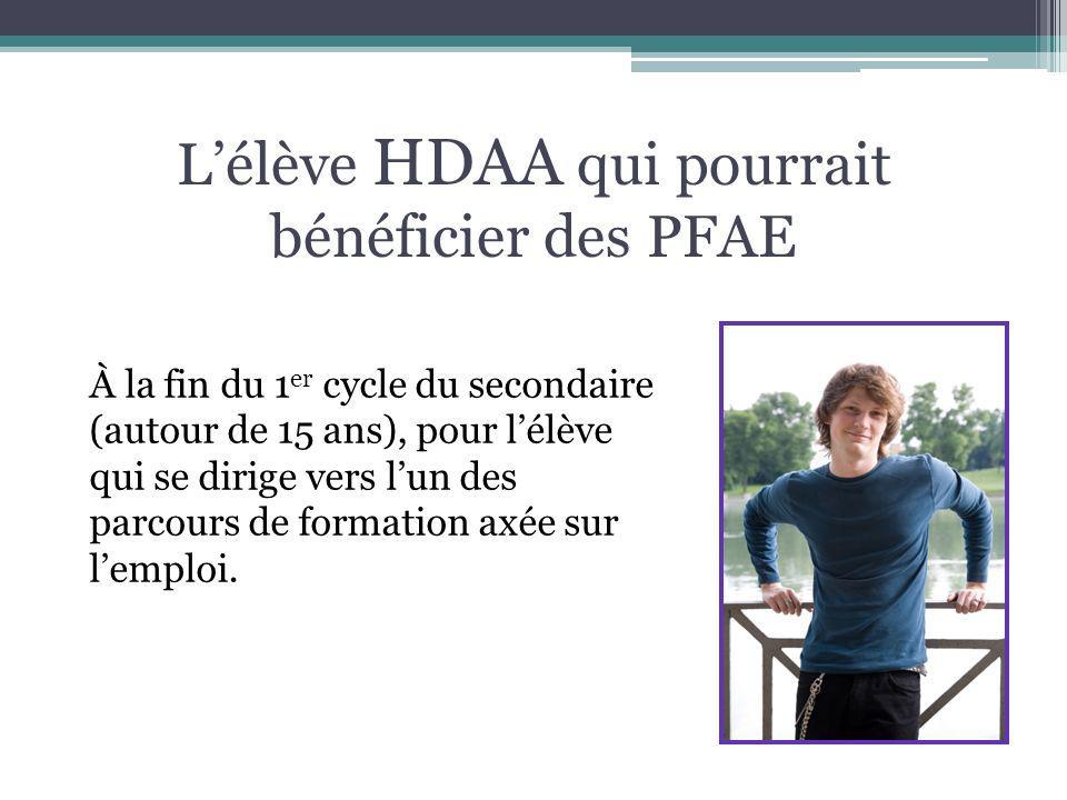 Lélève HDAA qui pourrait bénéficier des PFAE À la fin du 1 er cycle du secondaire (autour de 15 ans), pour lélève qui se dirige vers lun des parcours