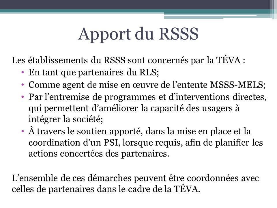Apport du RSSS Les établissements du RSSS sont concernés par la TÉVA : En tant que partenaires du RLS; Comme agent de mise en œuvre de lentente MSSS-M