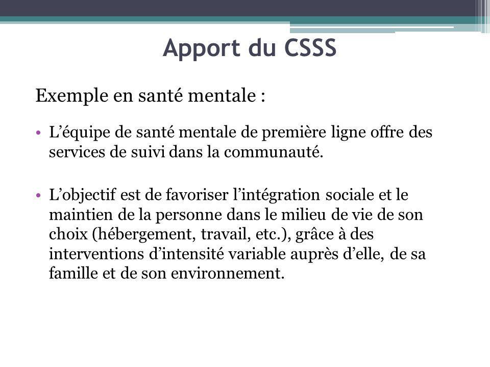 Apport du CSSS Exemple en santé mentale : Léquipe de santé mentale de première ligne offre des services de suivi dans la communauté. Lobjectif est de