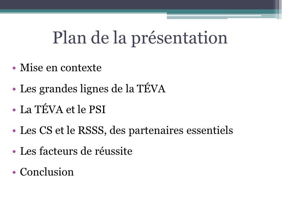 Plan de la présentation Mise en contexte Les grandes lignes de la TÉVA La TÉVA et le PSI Les CS et le RSSS, des partenaires essentiels Les facteurs de